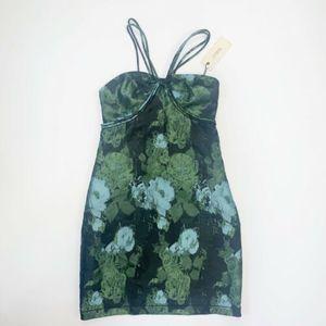 NWT Max Studio Floral Green Black Bodycon  Dress